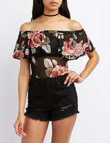 Charlotte Russe Floral Mesh Off-The-Shoulder Bodysuit