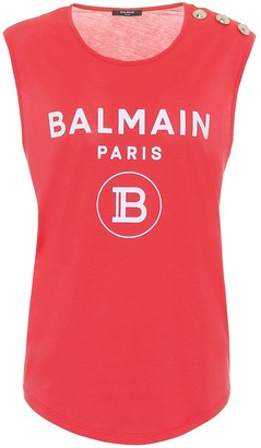Balmain Logo cotton-jersey tank top