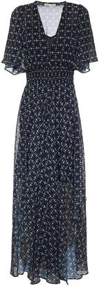 Maje Rachello Shirred Printed Georgette Midi Dress