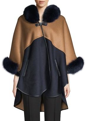 Wolfie Fur Made For Generation Two-Tone Fox Fur-Trim Cape