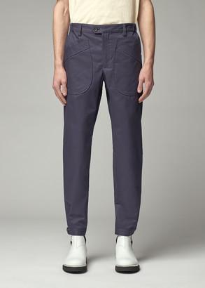 Lanvin Men's Slim Buttoned Hem Pant in Ink Blue Size 48