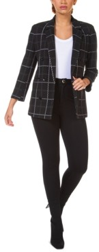 Black Tape Textured Open Blazer, in Regular & Petite
