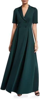Badgley Mischka Elbow-Sleeve Long Scuba Coat Dress