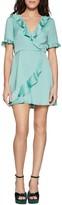 BCBGeneration Dot Print Ruffled Faux Wrap Satin Mini Dress