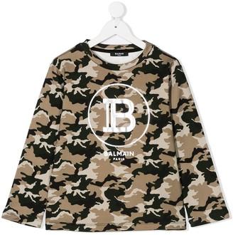 Balmain Kids Camouflage-Print Logo Sweatshirt