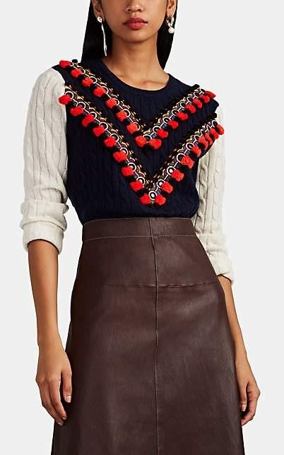 Altuzarra Women's Venise Embellished Wool-Cashmere Sweater - Navy, Wht