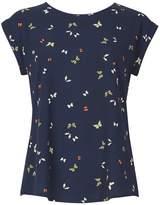 Izabel London *Izabel London Navy Baroque Roll Sleeve Top