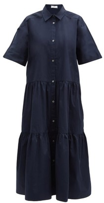 Co Tiered Cotton-sateen Midi Shirt Dress - Navy