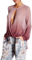 Young Fabulous & Broke Front Keyhole Long Sleeve Ombre Blouse