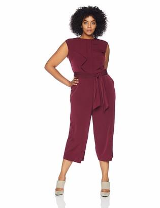 London Times Women's Plus Size Cap Sleeve Crepe Jumpsuit with Cascade Front