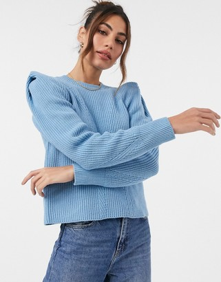 Y.A.S jumper with exaggerated shoulder in blue