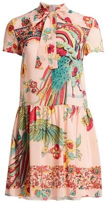 RED Valentino Bird-Printed Silk Dress