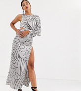 Asos Tall DESIGN Tall Copenhagen one sleeve midaxi dress in mono squiggle print