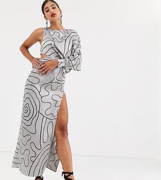 Asos Tall DESIGN Tall Copenhagen one sleeve midaxi dress in mono squiggle print-Silver