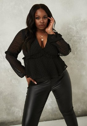 Missguided Plus Size Black Dobby Frill Peplum Blouse
