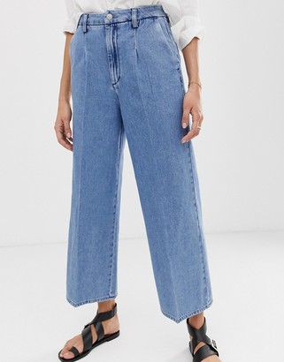 Selected wide leg cropped jeans-Blue