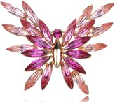 Alilang Tone Elegantly Abstract Rose Swarovski Crystal Element Butterfly Pin Brooch