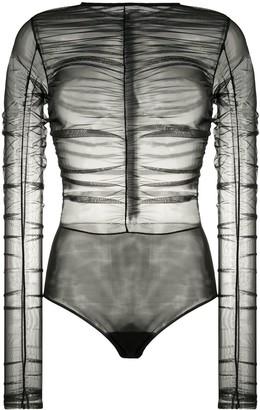 BROGNANO Ruched Sheer Bodysuit