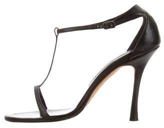 Manolo Blahnik T-Strap Leather Sandals