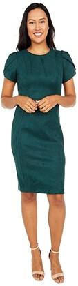 Calvin Klein Tulip Sleeve Scuba Suede Sheath Dress (Malachite) Women's Dress
