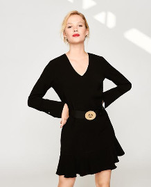 Tara Jarmon Black Frill Hem Dress - EU40 UK12 / Black - Black