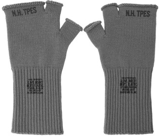 N.Hoolywood Grey Logo Fingerless Gloves