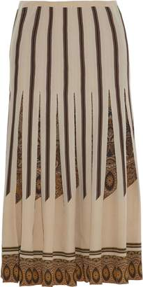 Etro Pleated Printed Silk Crepe De Chine Midi Skirt