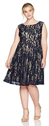 Julian Taylor Women's Plus Size All Over Lace Fit and Flare Dress