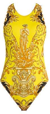 Versace Women's Femme Baroque Open-Back Chain Bodysuit
