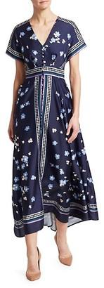 Lela Rose V-Neck Floral Button-Front Scarf Dress