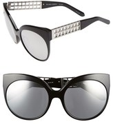 Linda Farrow Women's 59Mm Cat Eye 18 Karat White Gold Trim Sunglasses - Black/ Platinum