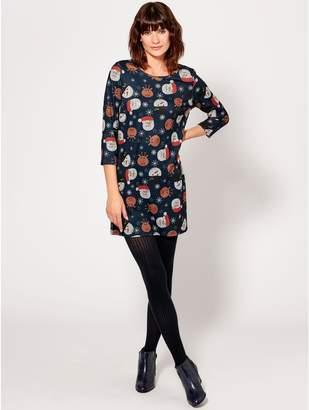 M&Co Christmas print soft touch tunic dress