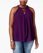 Monteau Trendy Plus Size Lace-Up Halter Top