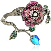 """Betsey Johnson Garden of Excess"""" Pave Rose and Faceted Stone Wrap Hinged Bangle Bracelet"""