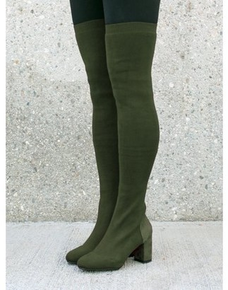 Nature Breeze Over the Knee Women's Sock Boots in Olive