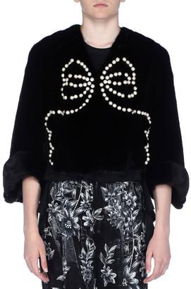 Fendi 3/4-Sleeve Pearly Beaded Mink Fur Jacket