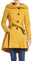 Steve Madden Belted Hooded Skirted Coat