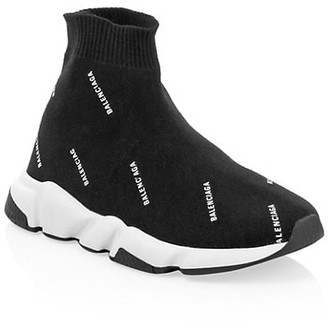 Balenciaga Kid's Allover Logo Sock Sneakers