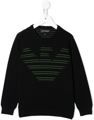 Emporio Armani Kids Embroidered Logo Crew Neck Jumper