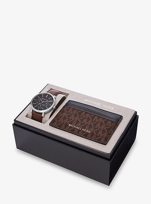 Michael Kors Blake Leather Watch and Logo Card Case Gift Set