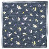 Black Grey Fishing Flies Printed Cotton Pocket Square