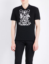 Alexander McQueen Floral skull-embroidered cotton-piqué polo shirt