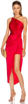 Mason by Michelle Mason for FWRD Twist Knot Midi Dress in Peony | FWRD