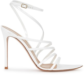 Gianvito Rossi Eclypse 105 white patent leather sandals