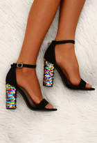 Pink Boutique Till The Glitter End Black Sequin Block Heels