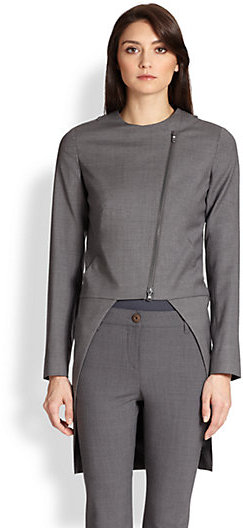 Brunello Cucinelli Tuxedo Detail Wool Crepe Jacket