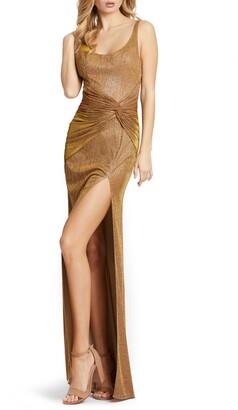 Mac Duggal Ruched Waist Sparkle Sheath Gown