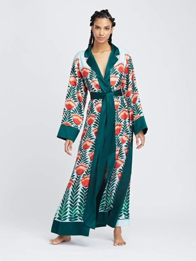 Oscar de la Renta Tulip Fields Silk-Twill Long Robe