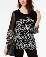 Alfani Embroidered Mesh-Sleeve Top, Available in Petite & Regular Sizes, Created for Macy's