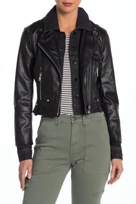 Bagatelle Faux Leather Denim Cropped Biker Jacket